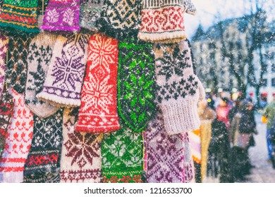 Mittens with national patterns in Latvia