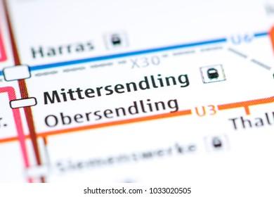 Mittersendling Station. Munich Metro map.