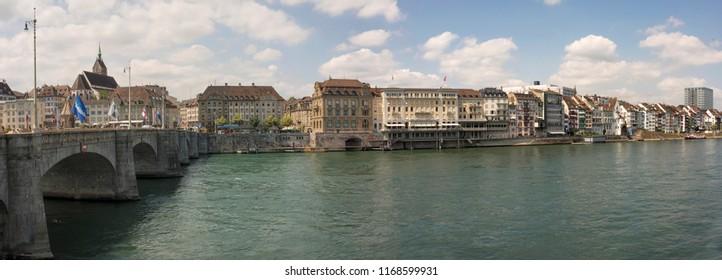 Mittlere bridge over Rhine in Basel city