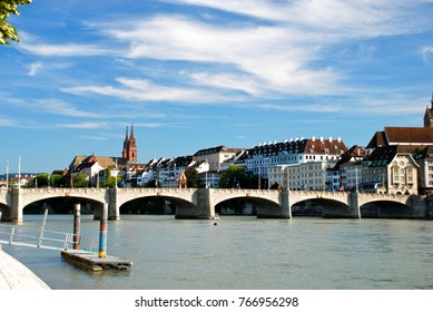 Mittlere Bruecke (middle bridge) on river Rhine, Basel, Switzerland