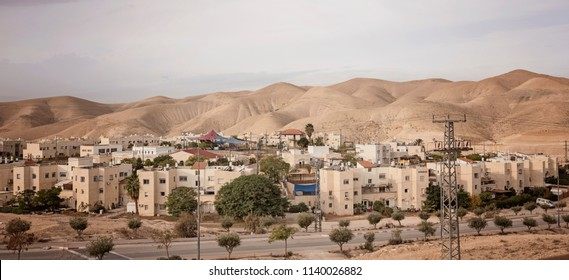 Mitzpe Yeriho, West Bank - December 24 2017: The Israeli settlement in the Judean Desert nearby the historic city Jericho.