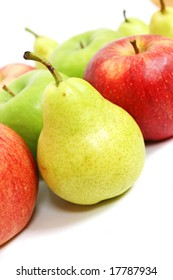 Mix of apples and pears on white