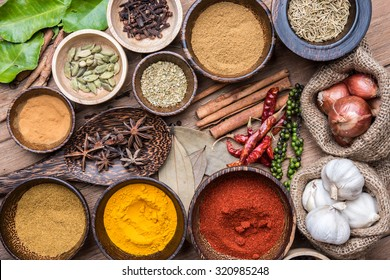 mix asian herbs on the wooden table