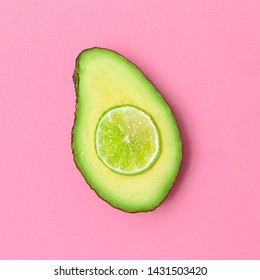 Mix  Avocado Lime. Minimal flat lay art. Vegan fashion concept