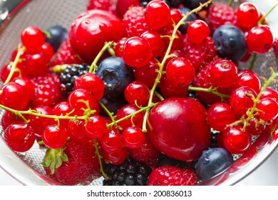 Mix of berries rinsed with water
