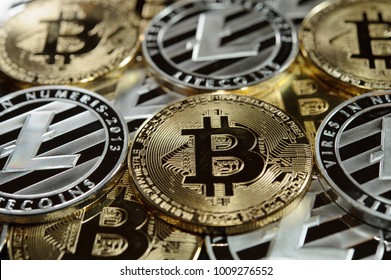 Mix of bitcoins and litecoins. Cryptocurrency