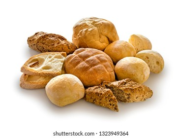 mix of bread isolated on white background