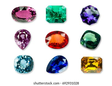 Mix of Bright gems isolated on a white background