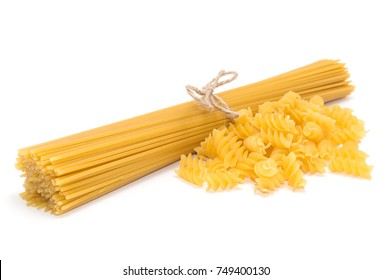 Mix of bunch uncooked italian pasta isolated on white background