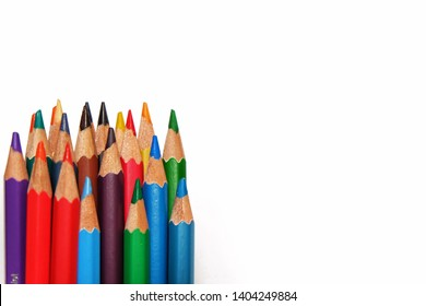 Mix Color pencil with copy space isolated on white background, education frame concept.