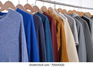 Mix color row of coat ,jacket ,sundress on hanging