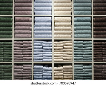 mix color towel on shelf in modern store