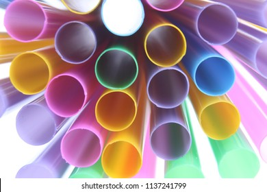 mix of colored straws