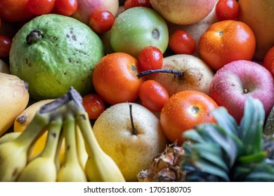 Mix colorful fruits on the close up view. Selective focus.