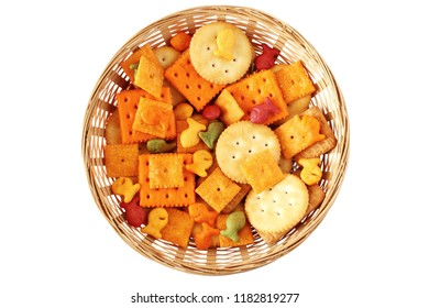 mix Crackers isolated on a White Background top view for food concept,health concept,party concept,lunch box,school lunch box,school