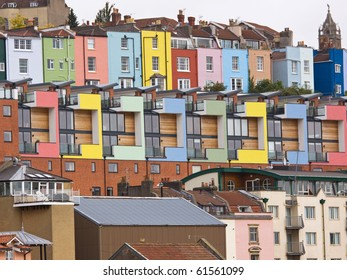 The mix of crowded colourful modern and traditional housing and apartments overlooking Bristol harbour UK