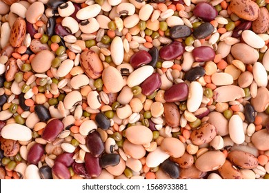 Mix of different beans. Background/surface/texture