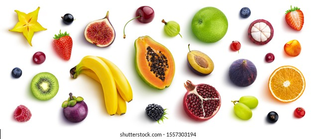 Mix of different fruits and berries isolated on white background, flat lay, top view