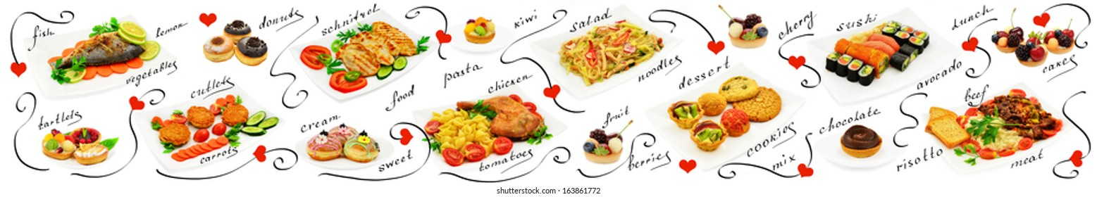 Mix of different meals and desserts. Panorama on a white background.