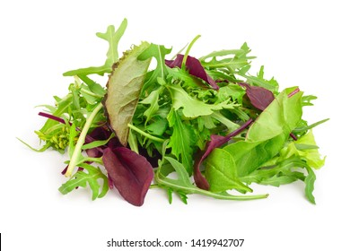 Mix of different salads isolated on white background