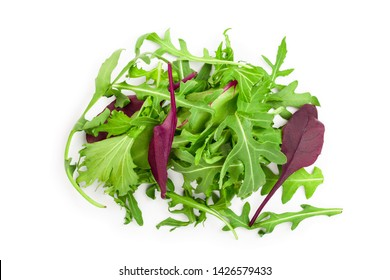 Mix of different salads isolated on white background. Top view. Flat lay