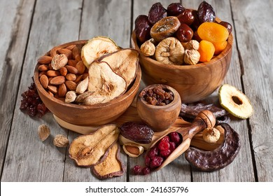 Mix of dried fruits and almonds - symbols of judaic holiday Tu Bishvat.
