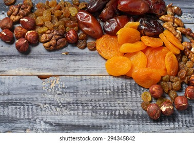 Mix of dried fruits and nuts. Selective focus