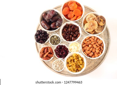 Mix of dried fruits and nuts - symbols of judaic holiday Tu Bishvat
