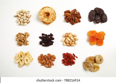 Mix of dried fruits and nuts - symbols of jewish holiday Tu Bishvat