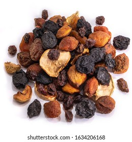 Mix of dried fruits on a white isolated background. Food grapes, apple, raisins, hazelnuts, dried apricots for your website design. kitchen theme