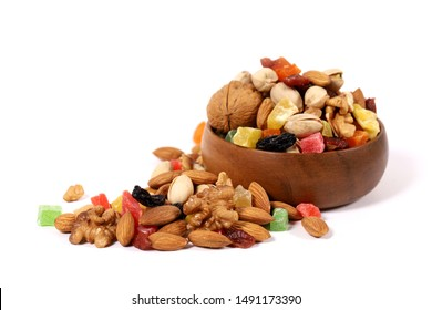 mix dry fruits and nuts, assorted berries with nuts in bowl and white background
