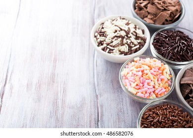 Mix of dutch hagelslag sprinkles. Netherlands traditional sweets for breakfast. Copy space.