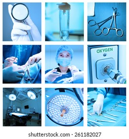 mix of equipment and medical in operating room with blue filter