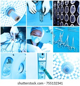 mix of equipment and medical in operating room take with art lighting and blue filter