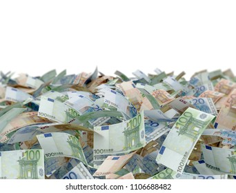 mix euro banknotes on white background. 3d render