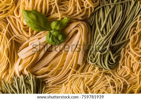Mix Fresh Linguine Spaghetti Spinach Spaghetti Stock Photo Edit Now