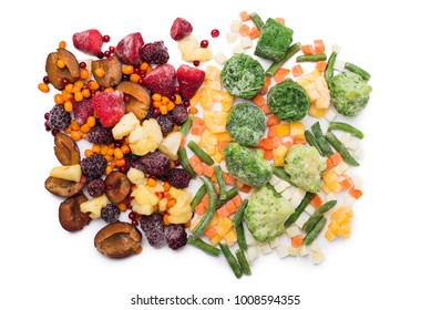 Mix of frozen fruits, berries and vegetables isolated over white, top view