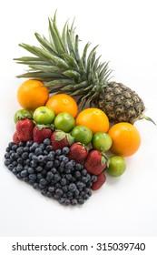 mix fruits on white background