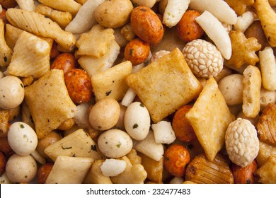 Mix of japanese rice nuts for background use