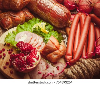 Mix of meat and sausage with vegetables