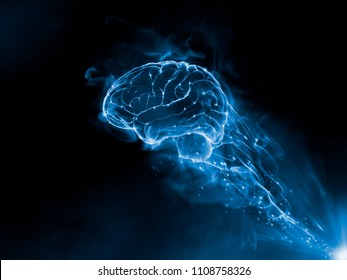 Mix Media 3D Render - Brain blue fire smoke effect on the black background