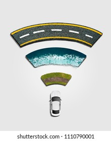 Mix Media 3D Render Wifi Sign Car With 3 type of Road In White Background