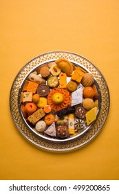 Mix Mithai or indian milk made sweet food for festivals like Diwali, holi, Dussehra and indian / pakistani wedding