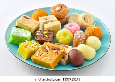 Mix Mithai or Mix Sweets in Blue Plate