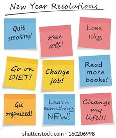 Mix of new year resolution or lifestyle self improvement notes, easily selectable, white background