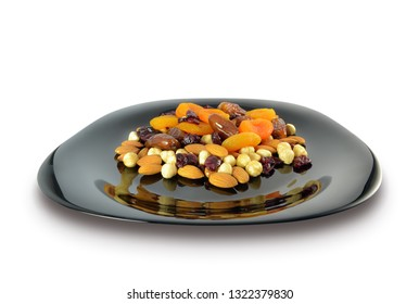 Mix of nuts and dried fruits in a black plate isolated on white background