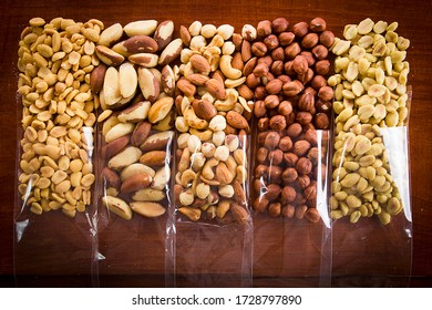 Mix of nuts for a healthy diet packaged by bag