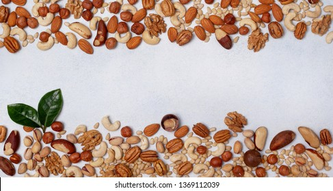 mix of nuts on a light background. view from above. banner. copy space