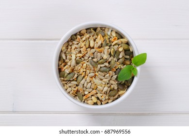 Mix of pumpkin and sunflower seeds with pine nuts and chopped almonds