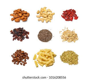 Mix of raw ingredients isolated on white background. Almonds, cashew, chia, pasta, coffee beans